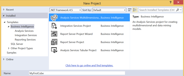 Creating a new project using SQL Server Data Tools or BIDS