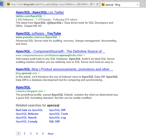 Microsoft Bing search engine results regarding a search for ApexSQL