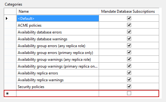 Policy Management context menu - Clicking the empty row in the Categories grid