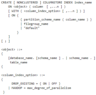 Figure showing the complete syntax for creating a SQL Server 2012 columnstore index