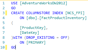 Figure 3 illustrating the creation of columnstore indexes against dbo.FactProductInventory table
