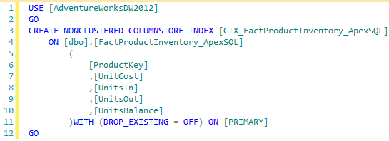 Figure showing the definition of the CIX_FactProductInventory_ApexSQL columnstore index