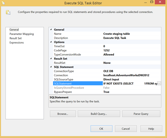 Configuring the Execute SQL task to create the staging table
