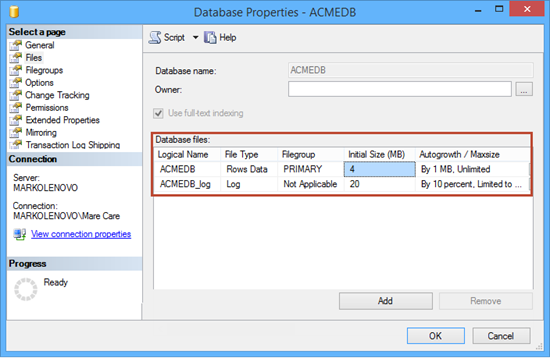 SQL Server Database Properties dialog