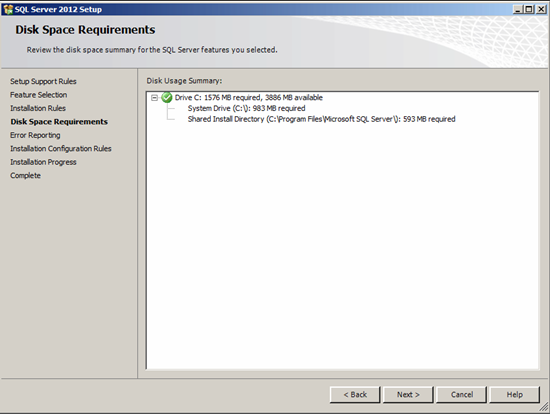 Figure illustrating the Disk Space Requirements step in SQL Server Management Studio 2012 Setup