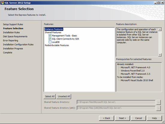 Figure illustrating Feature Selection step in SQL Server 2012 setup