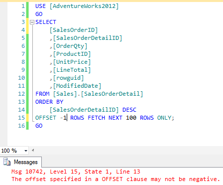 Error message thrown when incorrect integer values are provided in an OFFSET-FETCH filter