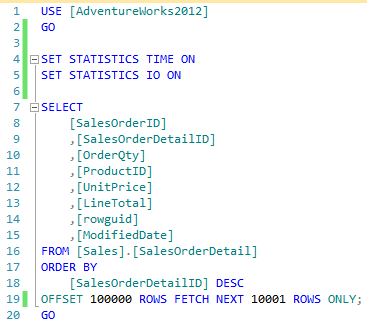 T-SQL pagination queries that have been implemented via the OFFSET-FETCH clause