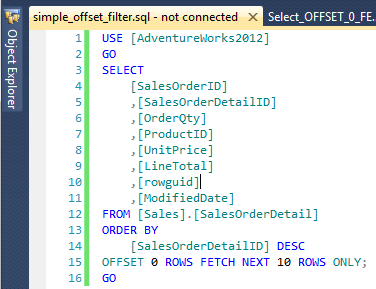 Figure showing a T-SQL query that extracts the top 10 rows off the SalesOrderDetail table