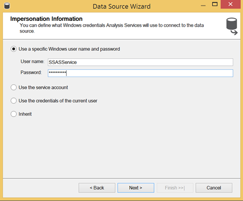 Data Source Wizard - specifying the type of the connection