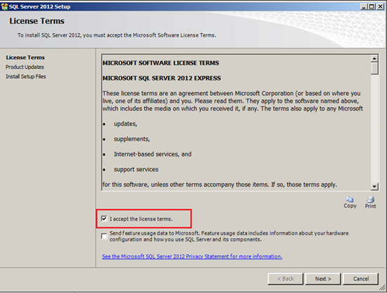 SQL Server 2012 Setup - accepting license terms