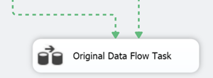 "If done correctly the outputs of both tasks above the ""Original Data Flow Task"" should become dotted"