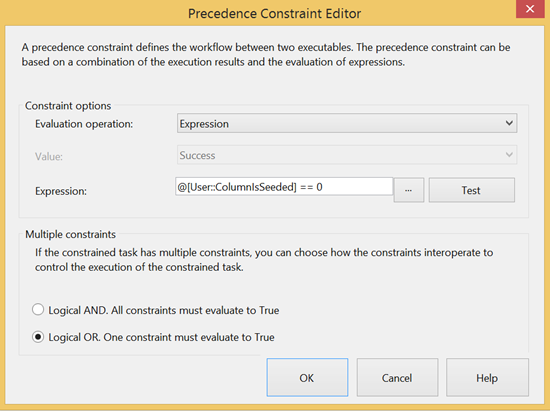 Precedence Constraint Editor window - changing the Evaluation operation from Constraint to Expression and using a custom espression
