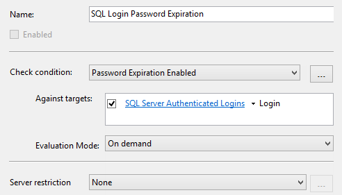 Dialog showing the target of the SQL Login Password Expiration policy