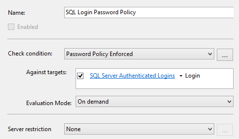 Use the Password Policy Enforced condition for the Check condition value to narrow down the policy targets