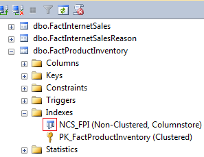 SQL Server 2012 Object Explorer - Icon indicating the presence of a columnstore index in a given object