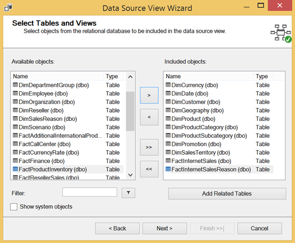 Creating a data source view - specifying which data you want to use for your cube