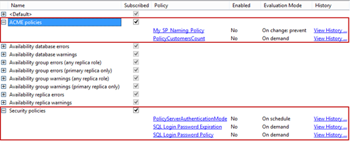 The Categories dialog showing all mandatory and optional policy categories
