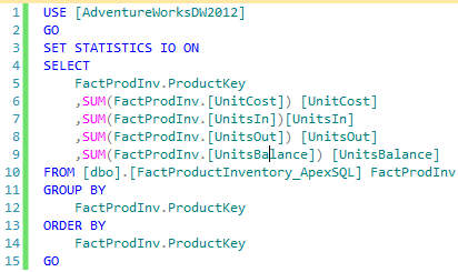 Figure showing a T-SQL query for retrieving the data to satisfy the user story against dbo.FactProductInventory_ApexSQL table