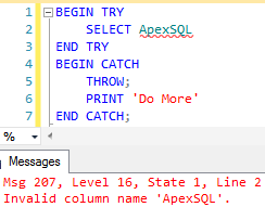 Commands that appear after the THROW statement are not executed at all