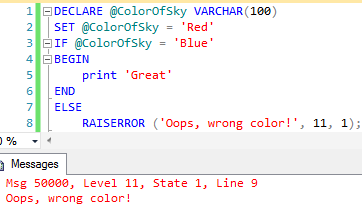 Using RAISERROR to set/reset the severity level of an error