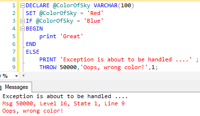 Using THROW statement with semicolon when it is preceded by other T-SQL statements