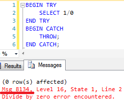 Error number 8134 is a system exception but it can be successfully re-thrown by the THROW statement