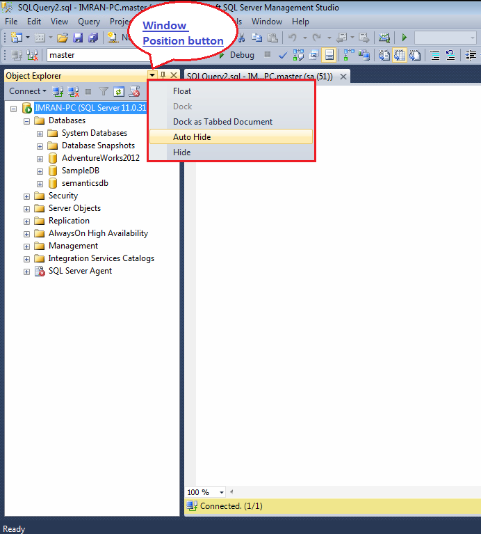 How To Get Object Explorer In Sql Server 2012