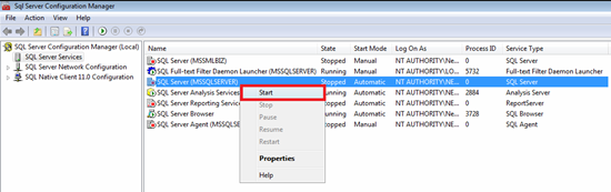 Figure showing starting a SQL Server Service