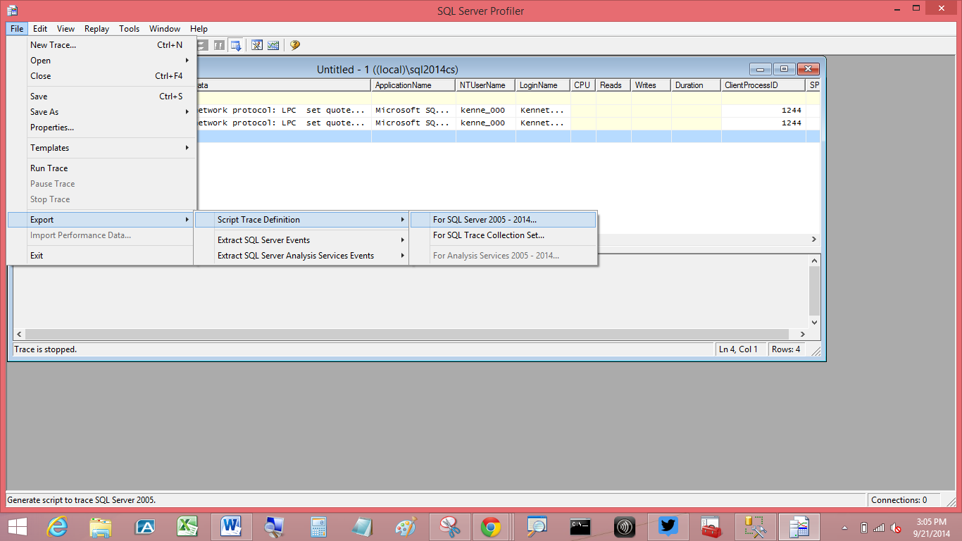 SQL Server Profiler - Export option
