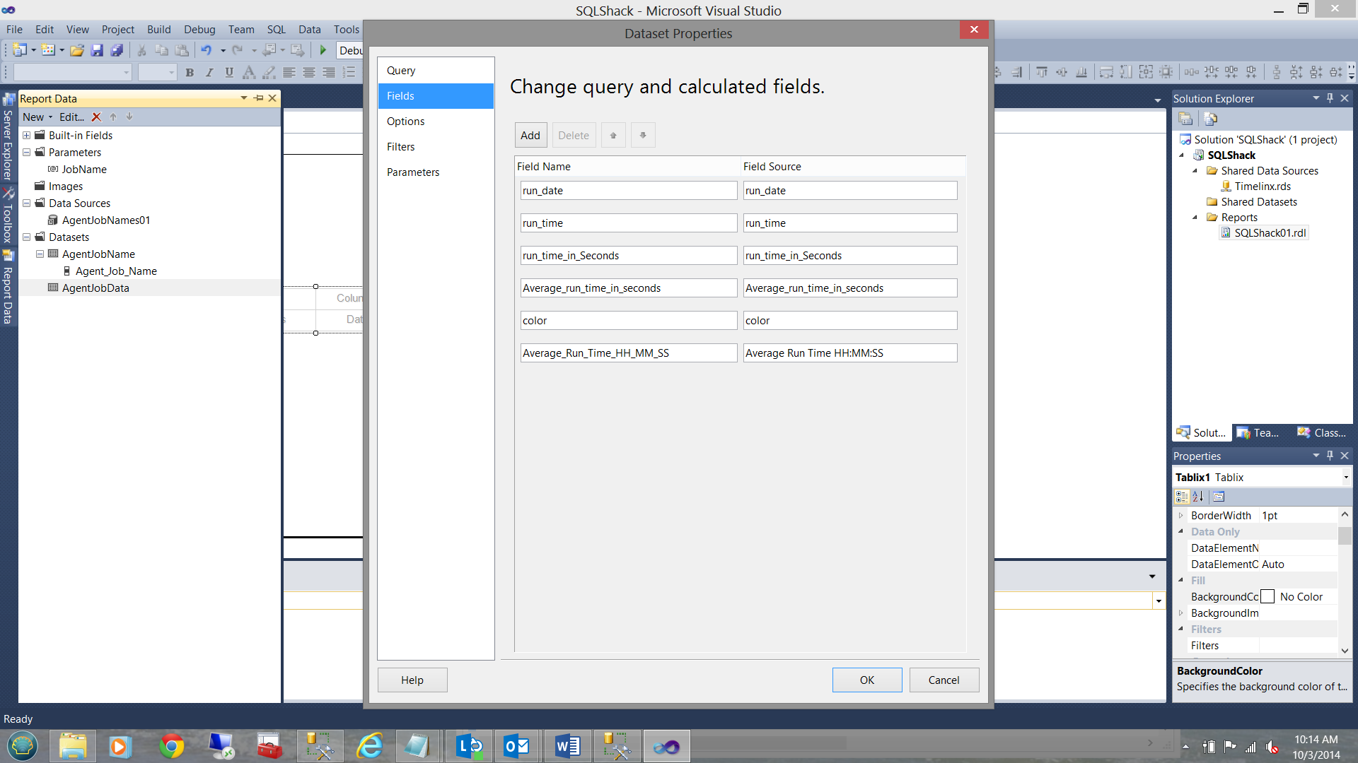 Change query and calculated fields dialog