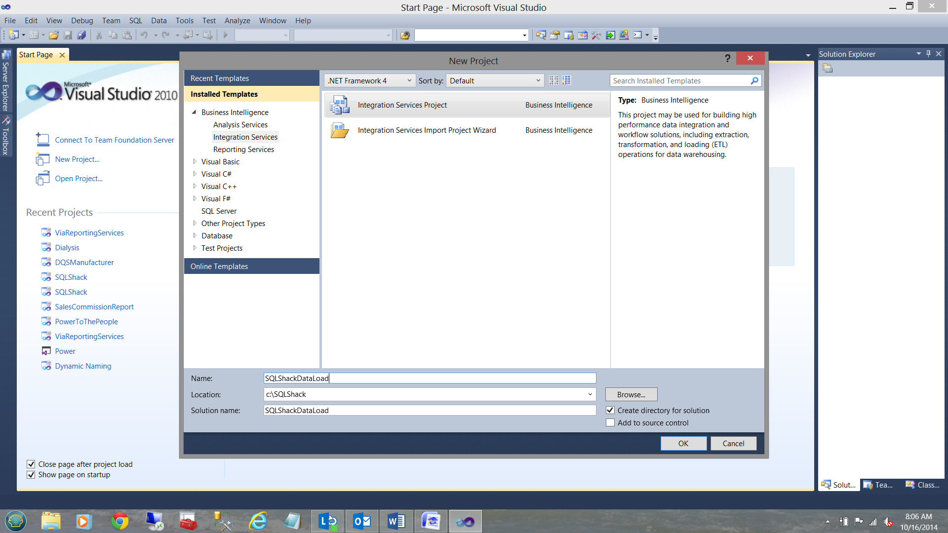 Creating SQL server integration services project