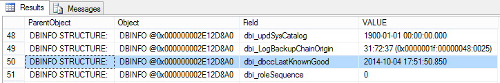 Table showing results of running DBCC DBINFO command