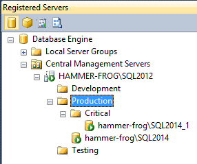 Registered Servers - The Production folder