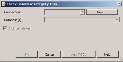 Check Database Integrity Task dialog