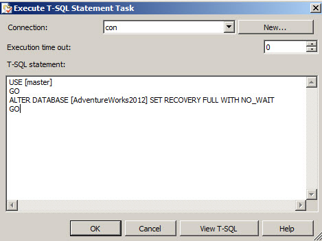 Execute T-SQL Statement Task dialog