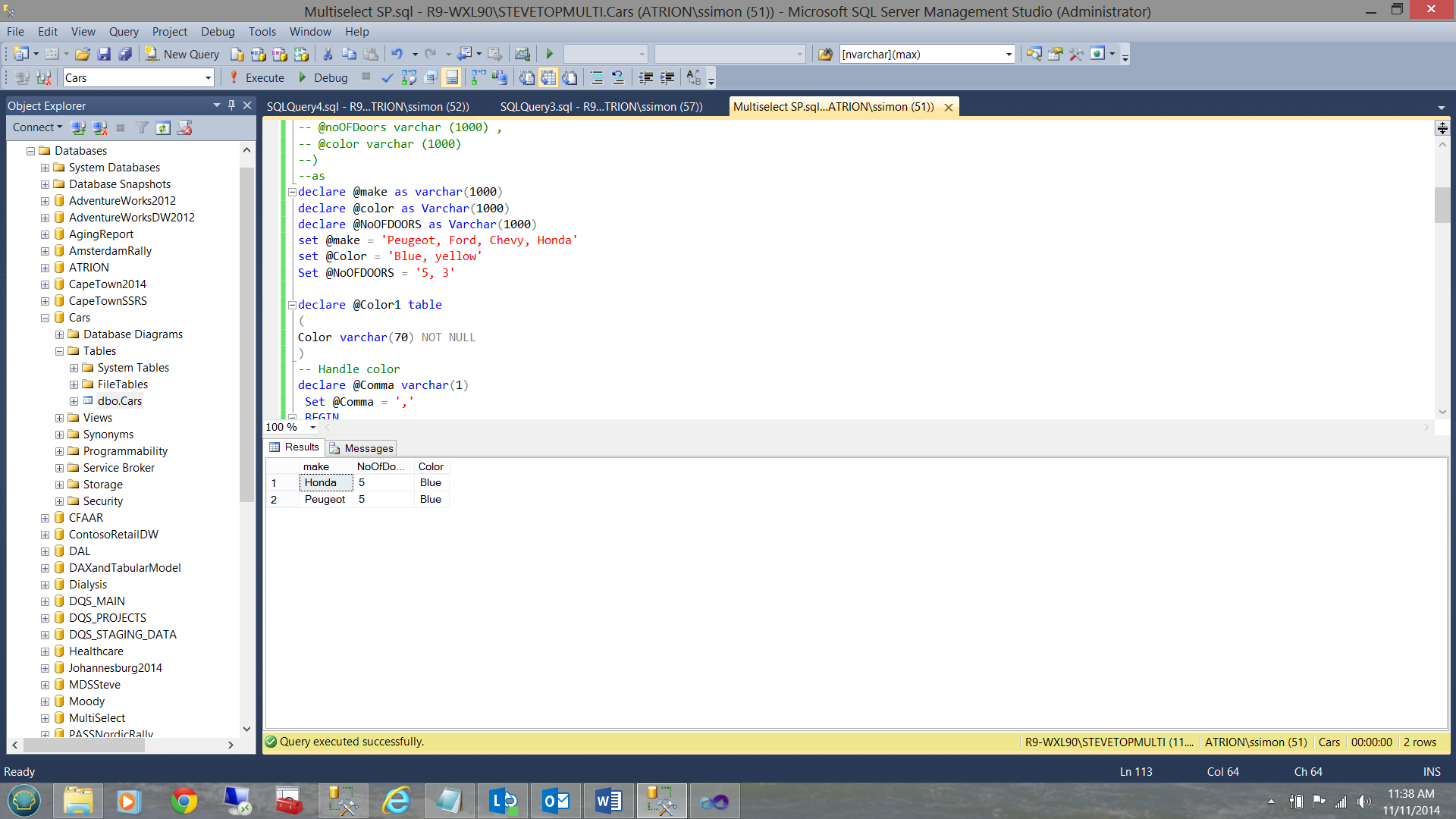 Finished stored procedure