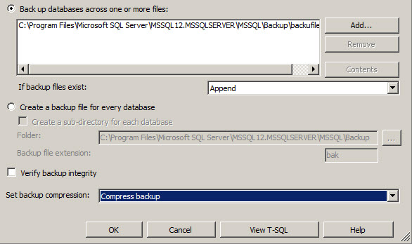 Options for verifying the backup integrity and compressing the backup