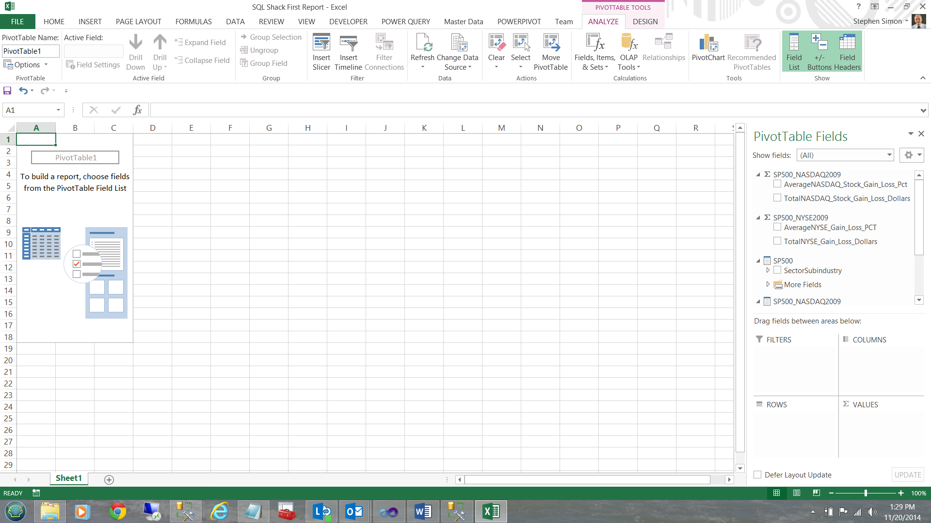 Pivot Table Report Cells