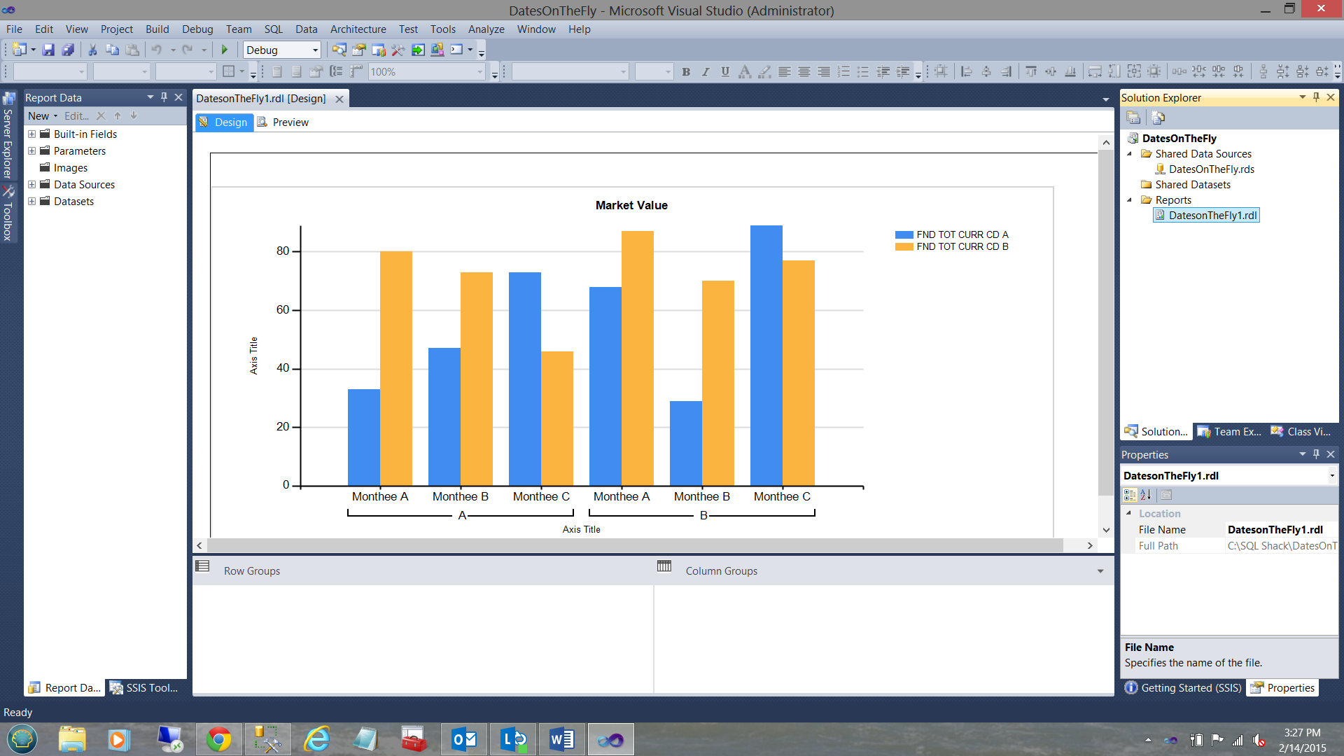 Reporting in SQL Server - create a matrix based sub-report called by
