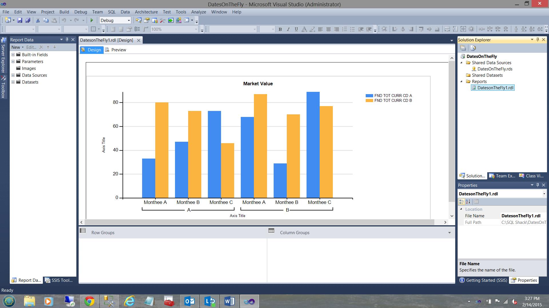 Reporting in SQL Server - create a matrix based sub-report