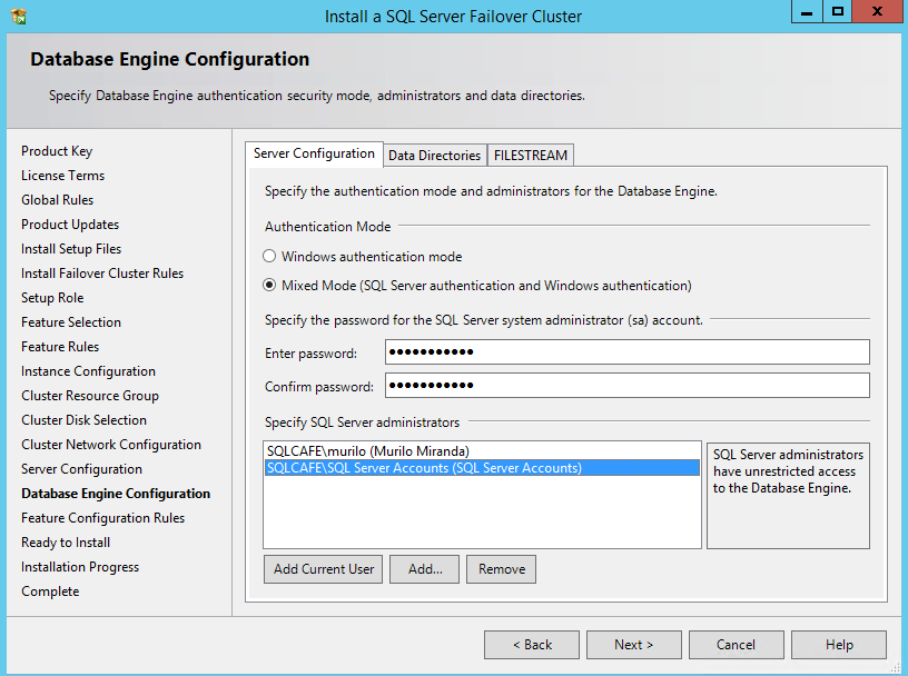 SQL Server 2014 – Install a clustered instance - step-by