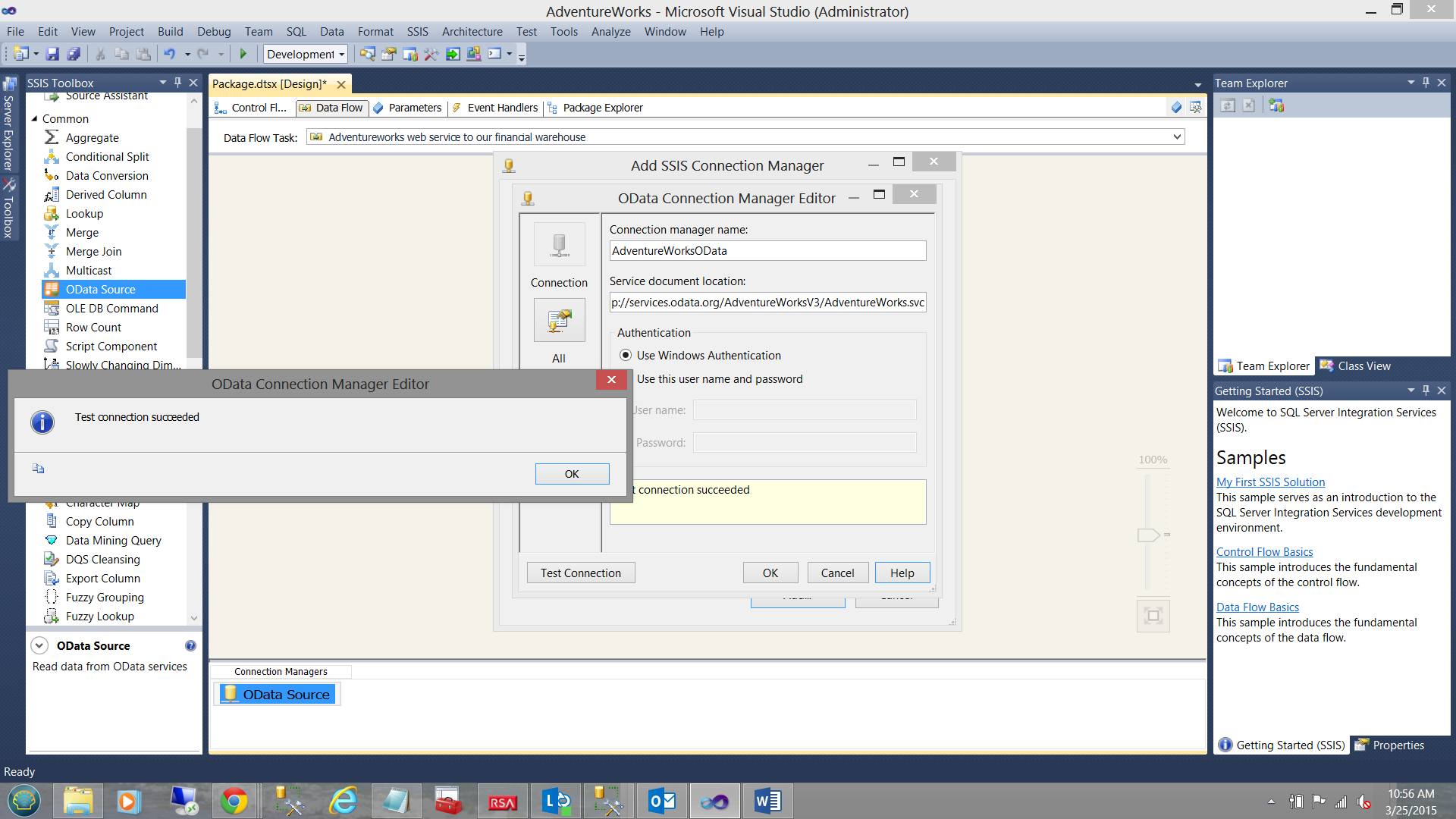 how to import data into sql server databases using the odata source