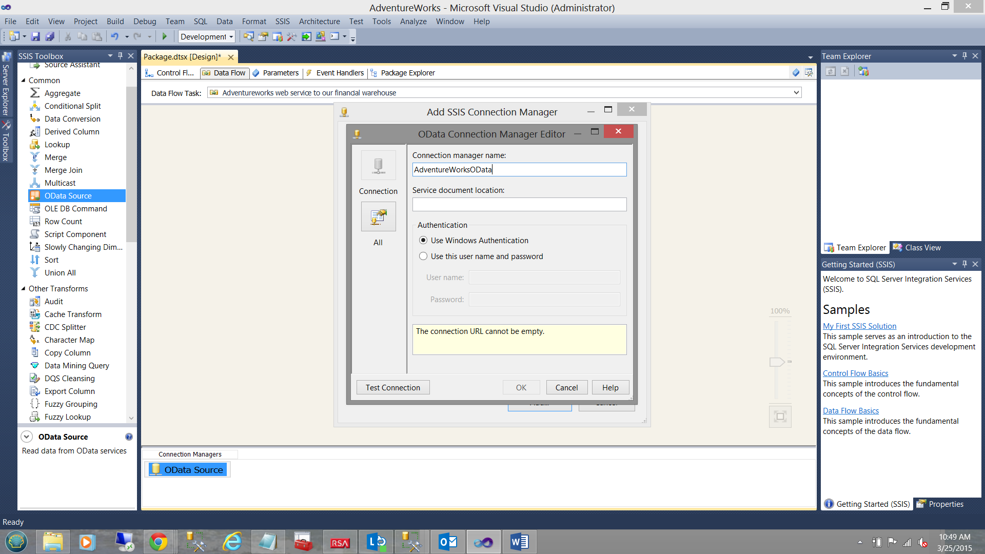"The ""OData Connection Manager Editor"" dialog box is brought into view see above"