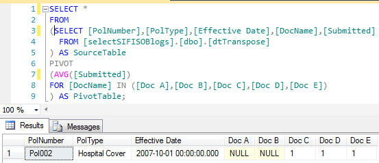 multiple options to transposing rows into columns   sql