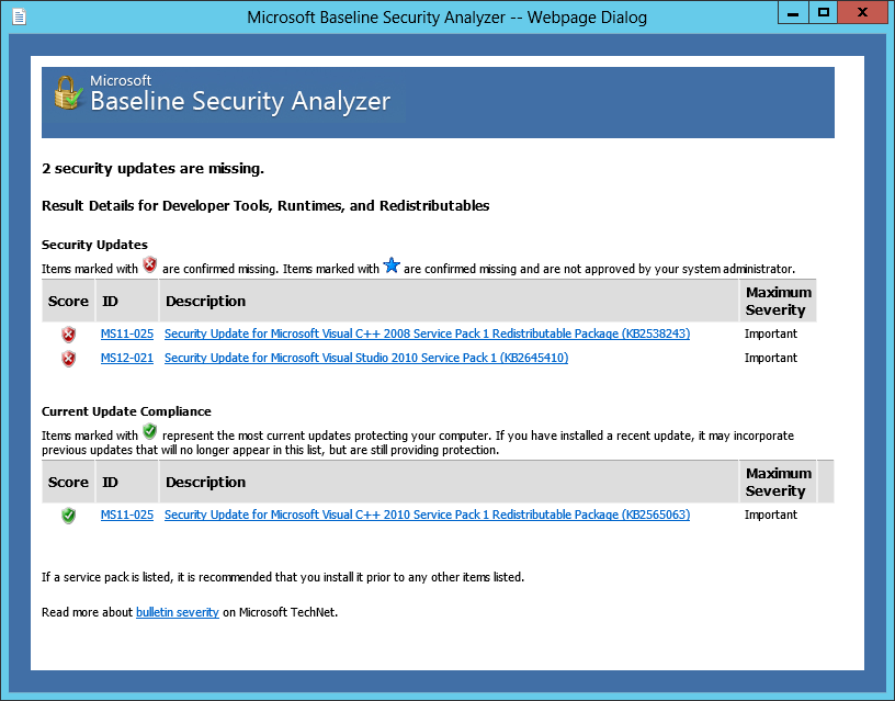 mbsa  windows server 2012