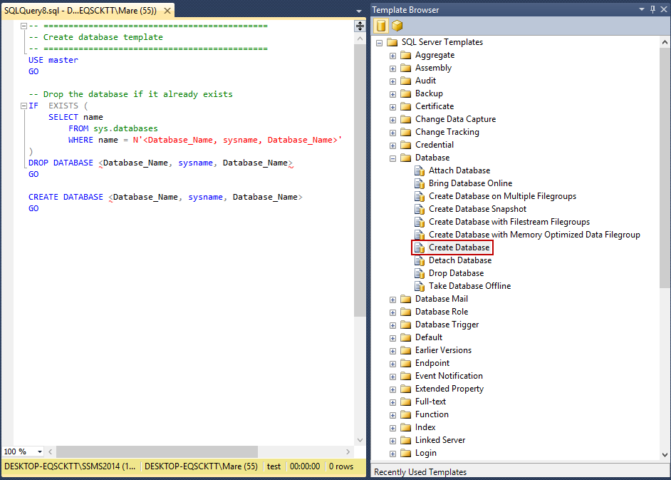 how to create and customize sql server templates