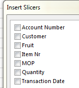 Available Excel Slicer Fields