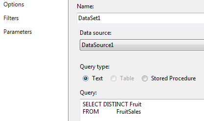 SSRS Report dataset to populate fruit parameter values