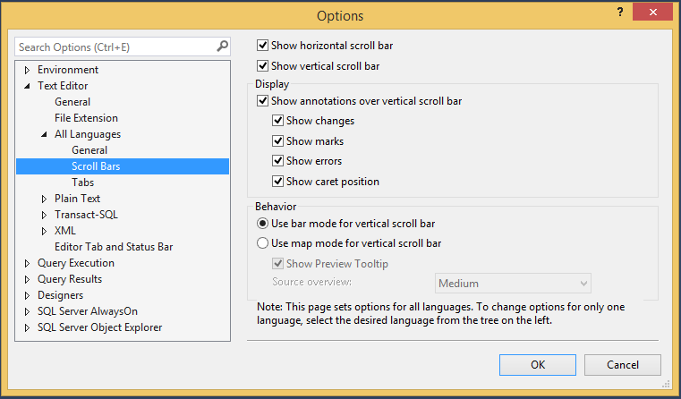 New feature in SQL Server Management Studio 2016 - Scroll bar